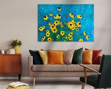 Rudbeckia mit blauem Hintergrund von Corinne Welp