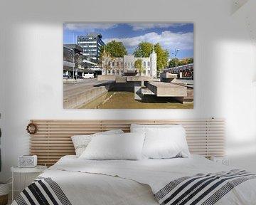 La ville blanche salle de Tilburg avec un étang d'eau sur Tony Vingerhoets