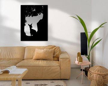 Schwarz-Weiß-Aufnahme eines weiblichen Rothirsches (Cervus elaphus) von AGAMI Photo Agency