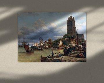 Stadt- und Hafenansicht von Dordrecht, elias pieter van bommel - 1889