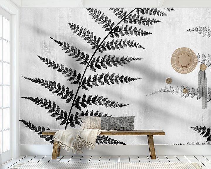 Beispiel fototapete: Gemälde schwarz-weißes Farnblatt von Bianca ter Riet