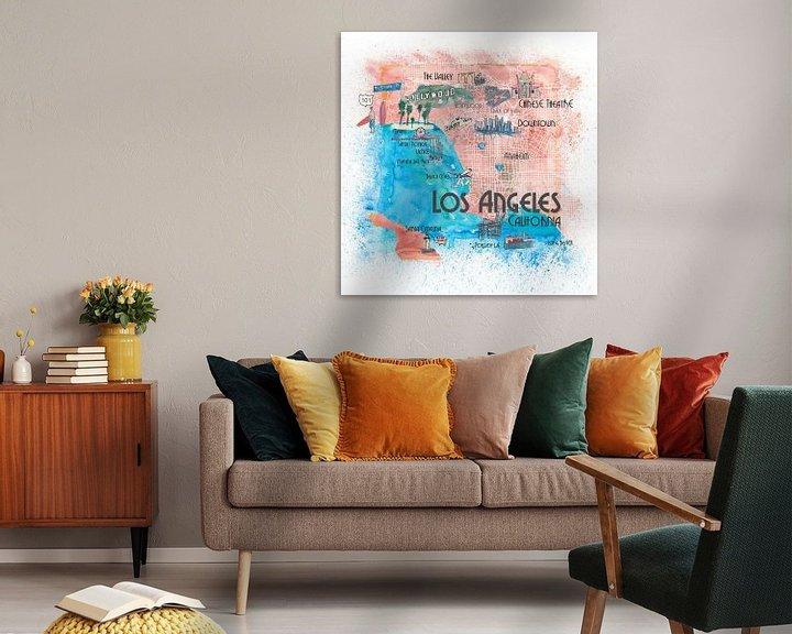 Beispiel: Illustrierte Reisekarte von Los Angeles Kalifornien mit Hauptstraßen, Sehenswürdigkeiten und Höhepun von Markus Bleichner