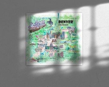 Geïllustreerde kaart van Denver Colorado USA met bezienswaardigheden en hoogtepunten van de hoofdweg van Markus Bleichner