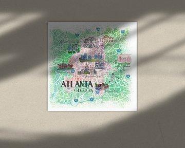 Atlanta Georgia USA Illustrierte Karte mit den wichtigsten Straßen, Sehenswürdigkeiten und Highlight von Markus Bleichner