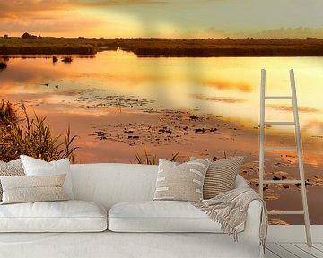 Gouden Zonsondergang De Onlanden in portretstand van R Smallenbroek