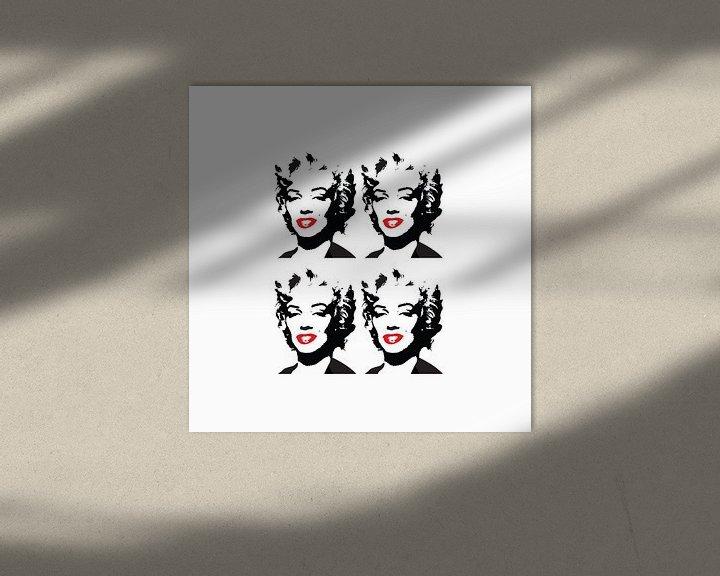 Beispiel: Marilyn Monroe Zeichnung schwarz-weiß mit roten Lippen von sarp demirel