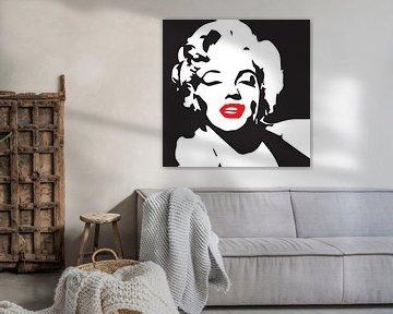 Marilyn monroe portret tekening zwart wit met rode lippen van sarp demirel
