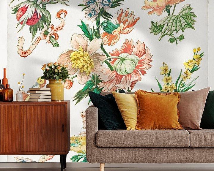 Beispiel fototapete: Blumenmuster mit Vögeln und Gänsegeier, Giacomo Cavenezia