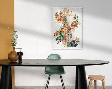 Vertikales dekoratives Blumenband, Giacomo Cavenezia