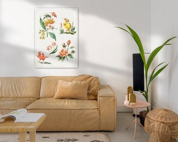 Blumenmuster mit zwei Vögeln, Giacomo Cavenezia