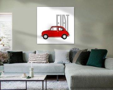 Roter Fiat 500 auf Weiß von Jole Art (Annejole Jacobs - de Jongh)