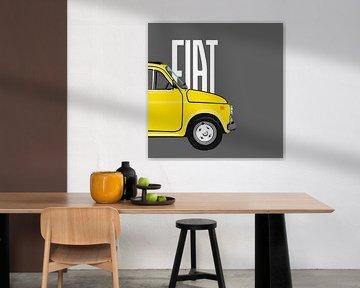Gelber Fiat 500 auf grau von Jole Art (Annejole Jacobs - de Jongh)