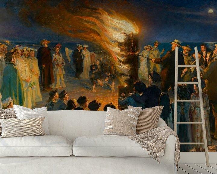 Beispiel fototapete: Mittsommerabend-Lagerfeuer am Strand von Skagen, Peder Severin Krøyer