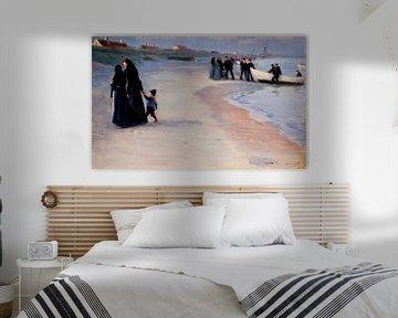 Ein weißes Boot am Strand. Leichter Sommerabend, Peder Severin Krøyer