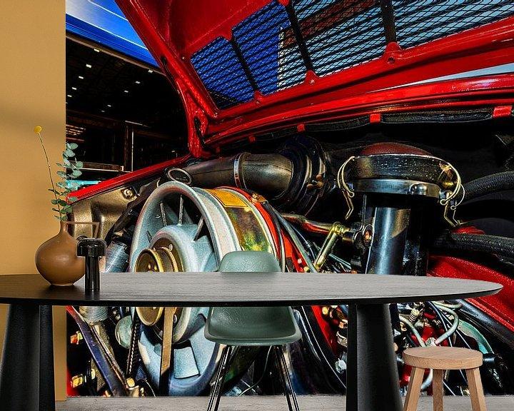 Sfeerimpressie behang: Porsche De Motorruimte van Brian Morgan