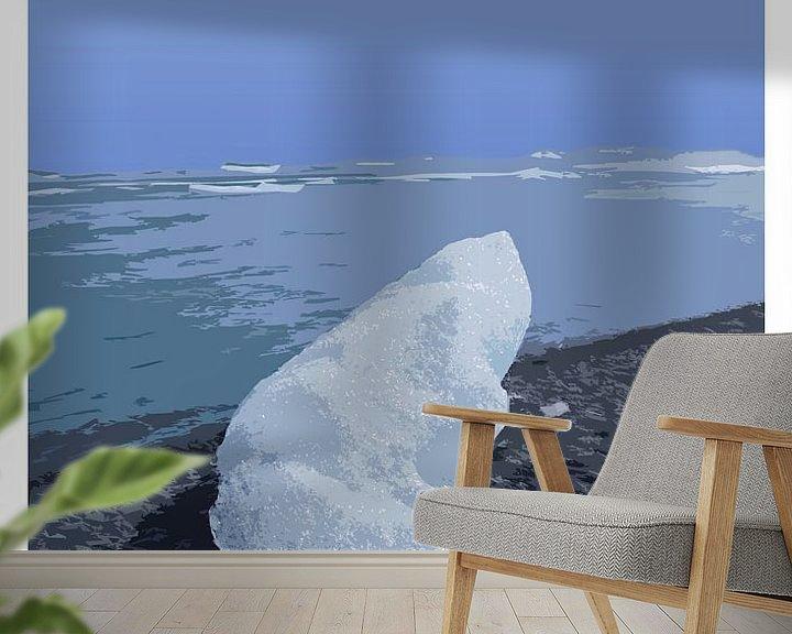Beispiel fototapete: Vintage-Poster, Diamond Beach, Jökulsárlón, Island von Discover Dutch Nature