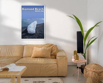Vintage-Poster, Diamond Beach, Jökulsárlón, Island von Discover Dutch Nature