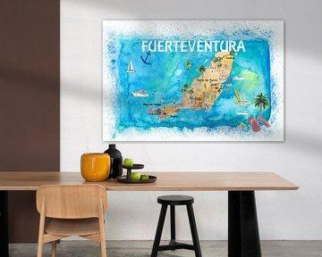 Fuerteventura Canarias Spanien Illustrierte Karte mit Orientierungspunkten und Höhepunkten von Markus Bleichner