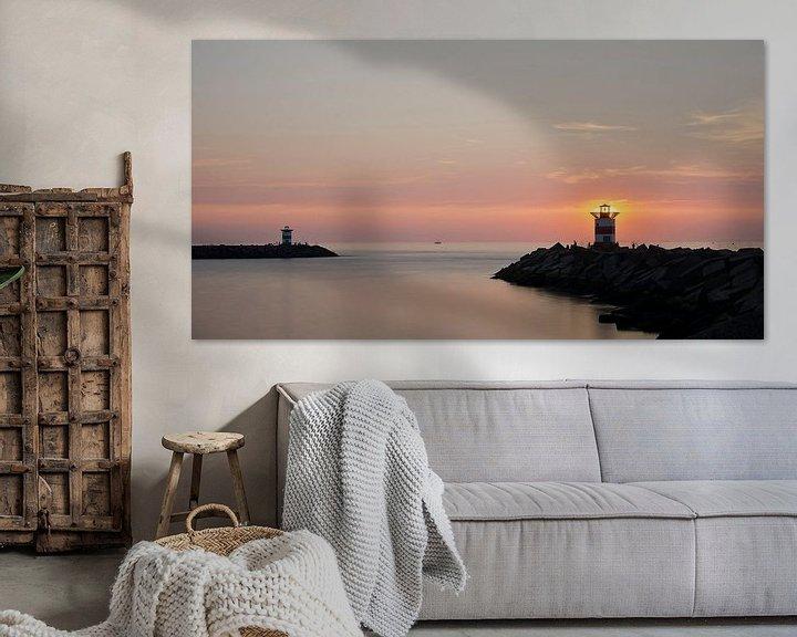 Sfeerimpressie: De haven van Scheveningen bij zonsondergang van Pierre Timmermans