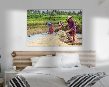 Arbeiders in de rijstvelden op het platteland van Java van Nisangha Masselink