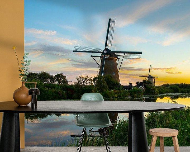 Sfeerimpressie behang: De Molens van Kinderdijk, Nederland van Gert Hilbink