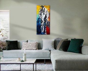 Dunkles Silberpferd von Kathleen Artist Fine Art