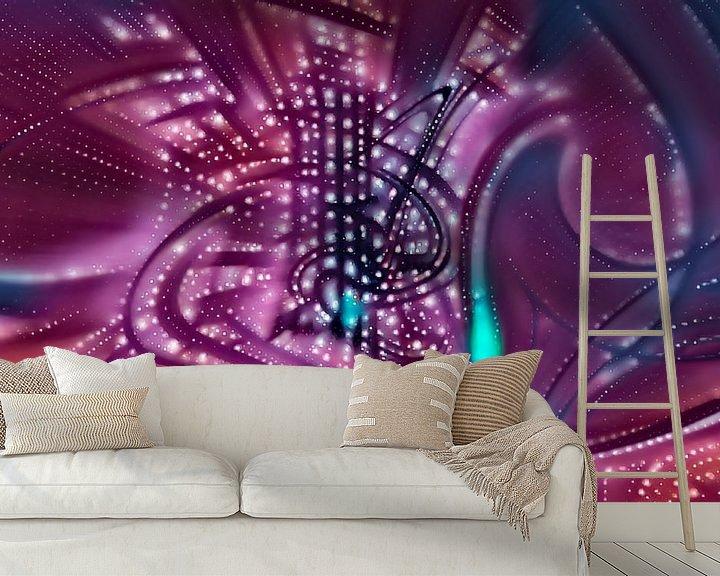 Sfeerimpressie behang: Purple Music van Leo Luijten