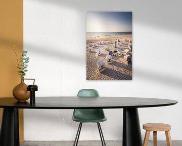 Chaises de plage à la Rote Kliff de Kampen au coucher du soleil, Sylt sur Christian Müringer