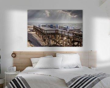 Laatste zonnestralen op het strand van Kampen, Sylt van Christian Müringer