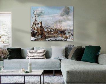 Winter mit Markt, Salomonrombouts - 1702