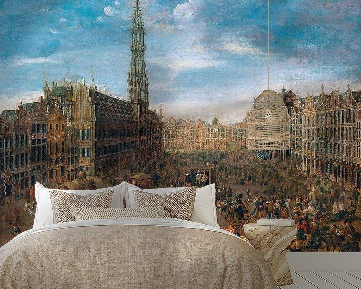 Beispiel fototapete: Flämische Schule, Börse auf dem großen Markt in Brüssel - ca 1670 von Atelier Liesjes