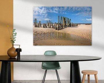 Alte Buhnen am Strand von Rantum, Sylt von Christian Müringer