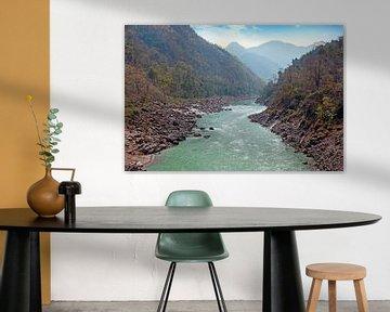 De heilige rivier Ganges in India bij Laxman Jhula van Nisangha Masselink