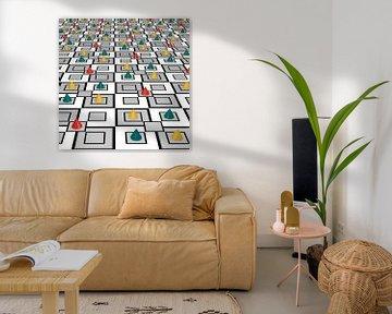 abstract wandmotief met gekleurde kegels van Stefanie Keller