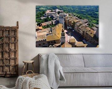 Bovenaanzicht San Gimignano, Toscane Italië van My Footprints