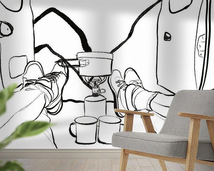 Sfeerimpressie behang: Koffie in de kamper van MishMash van Heukelom
