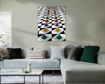 Abstract patroon met kleurrijke piramides van Stefanie Keller