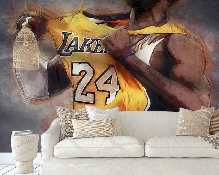 Beispiel fototapete: Kobe Bryant Ölfarbe Porträt von Bert Hooijer