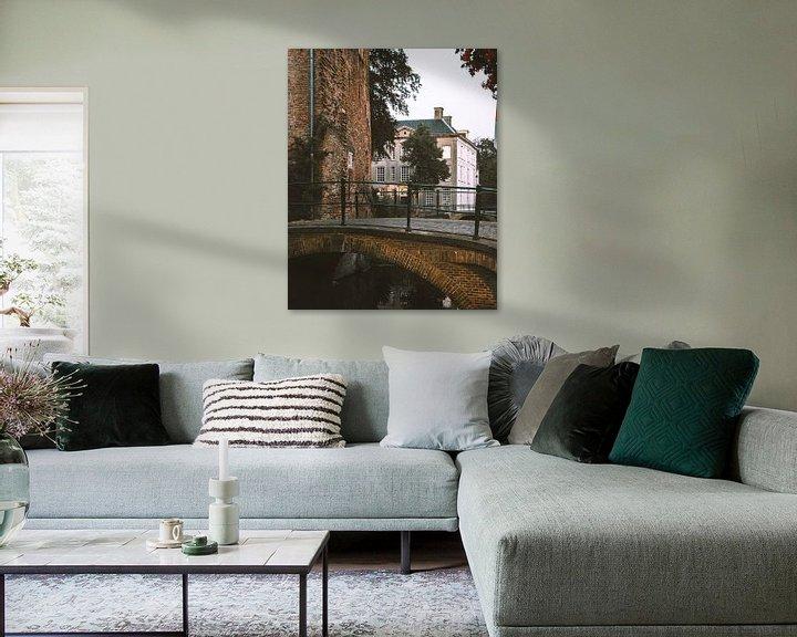 Beispiel: Brücke in der Dämmerung in den Mauerhäusern von Amersfoort von Michiel Dros