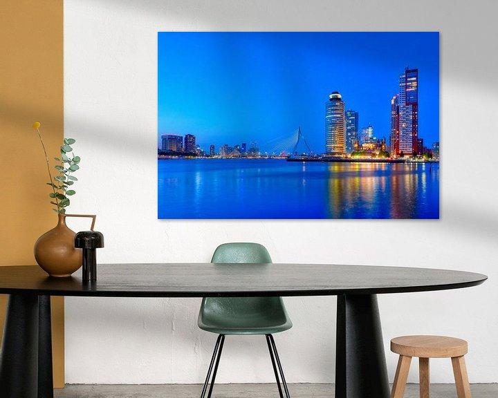 Impression: Heure bleue avec vue sur le pont Erasmus et le Kop van Zuid sur Ardi Mulder