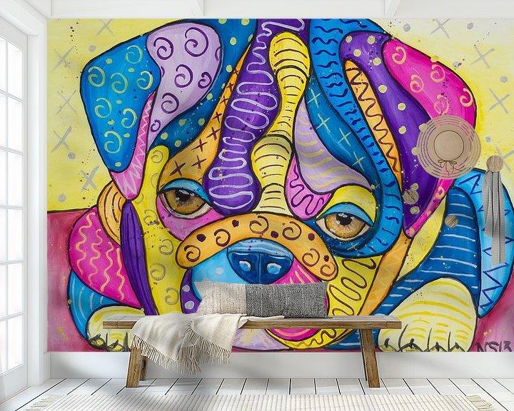 Sfeerimpressie behang: Sweet Bulldog Puppy van Nathalie Snoeijen-van Eck