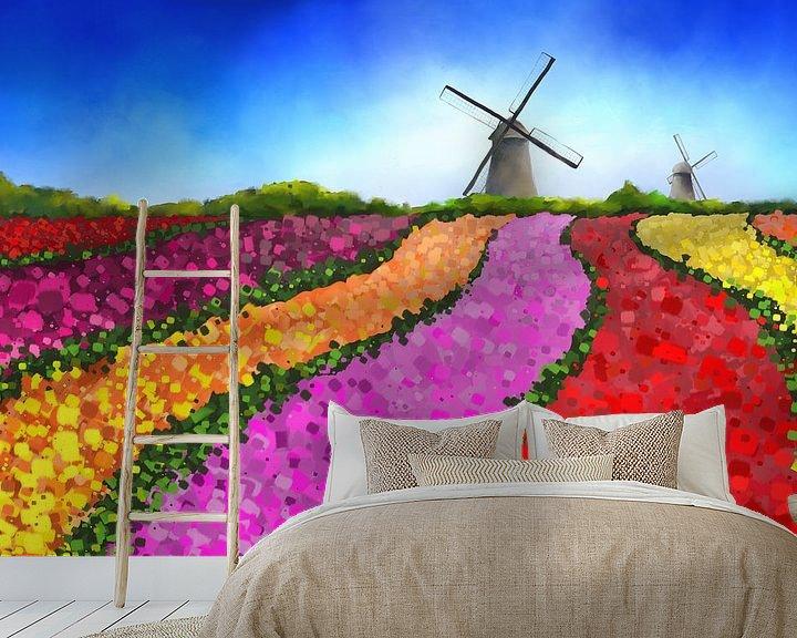 Impression: Peinture paysagère de champs de tulipes néerlandais avec deux moulins à vent sur Tanja Udelhofen