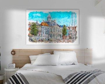 Het Lampsinshuis (Nieuwendijk, Vlissingen) (Aquarell) von Art by Jeronimo
