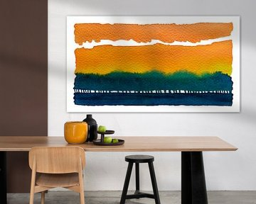Sunrise behind the treeline | Aquarel schilderij van WatercolorWall