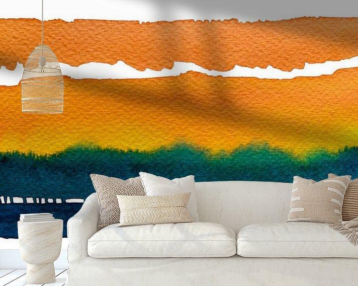 Sfeerimpressie behang: Sunrise behind the treeline | Aquarel schilderij van WatercolorWall