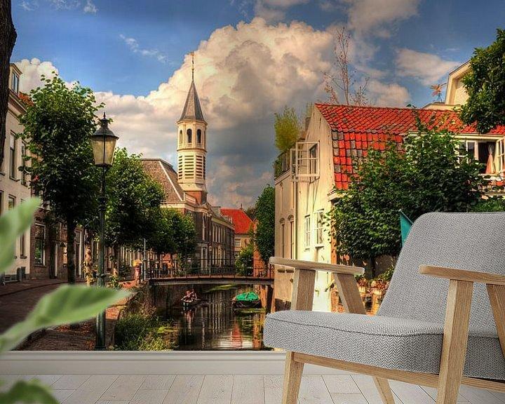 Sfeerimpressie behang: Langegracht en Elleboogkerk historisch Amersfoort van Watze D. de Haan