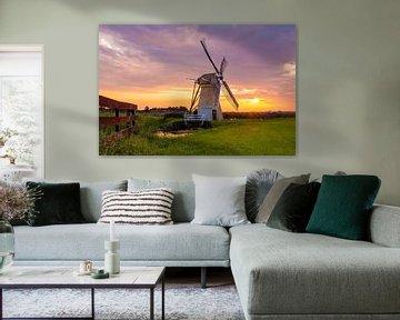 Zonsopkomst in voorhout bij Windmolen Hoop doet Leven van Marcel van den Bos