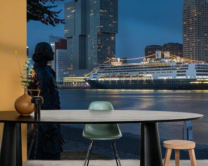 Sfeerimpressie behang: Het cruiseschip MS Rotterdam voor de laatste keer aan de Cruise Port in Rotterdam van MS Fotografie | Marc van der Stelt