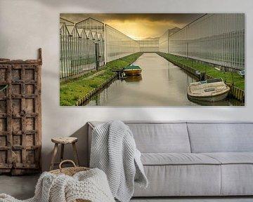 Goldener Schein der untergehenden Sonne über einem Gartenbaukomplex mit einem Graben von Gert van Santen