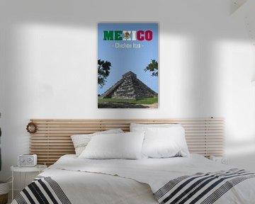 Vintage Poster,  Chichén Itzá, Mexico van Discover Dutch Nature